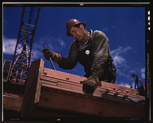 'Big Pete' Ramagos, rigger at work on dam (TVA) Douglas Dam, Tenn., in June 1942